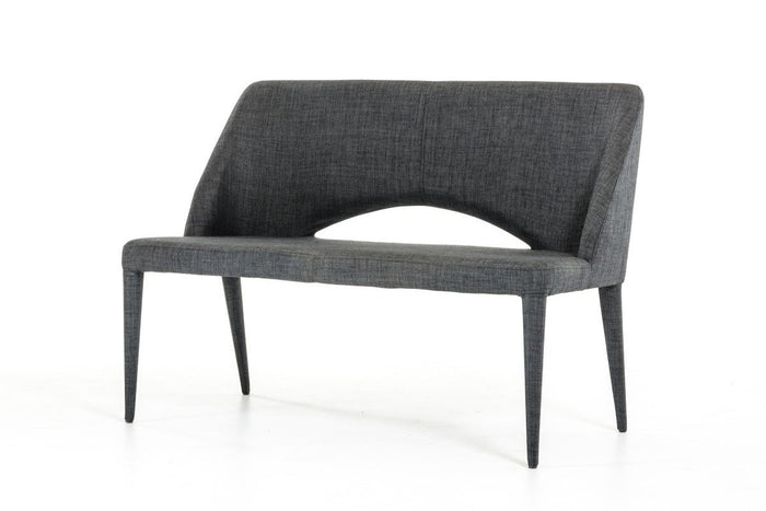 Modrest Williamette Modern Dark Grey Fabric Upholstered Bench