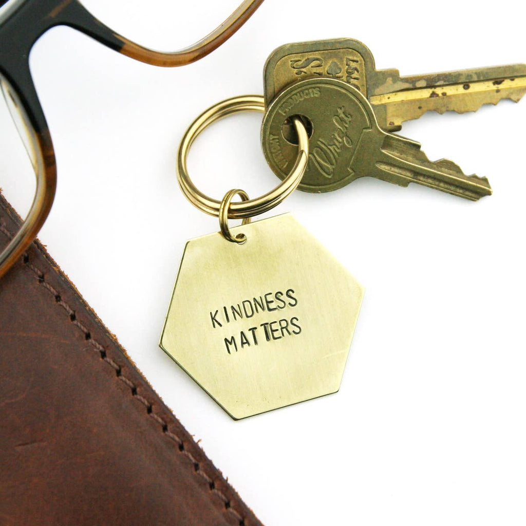 Peachtree Lane // Handstamped Brass Keychain