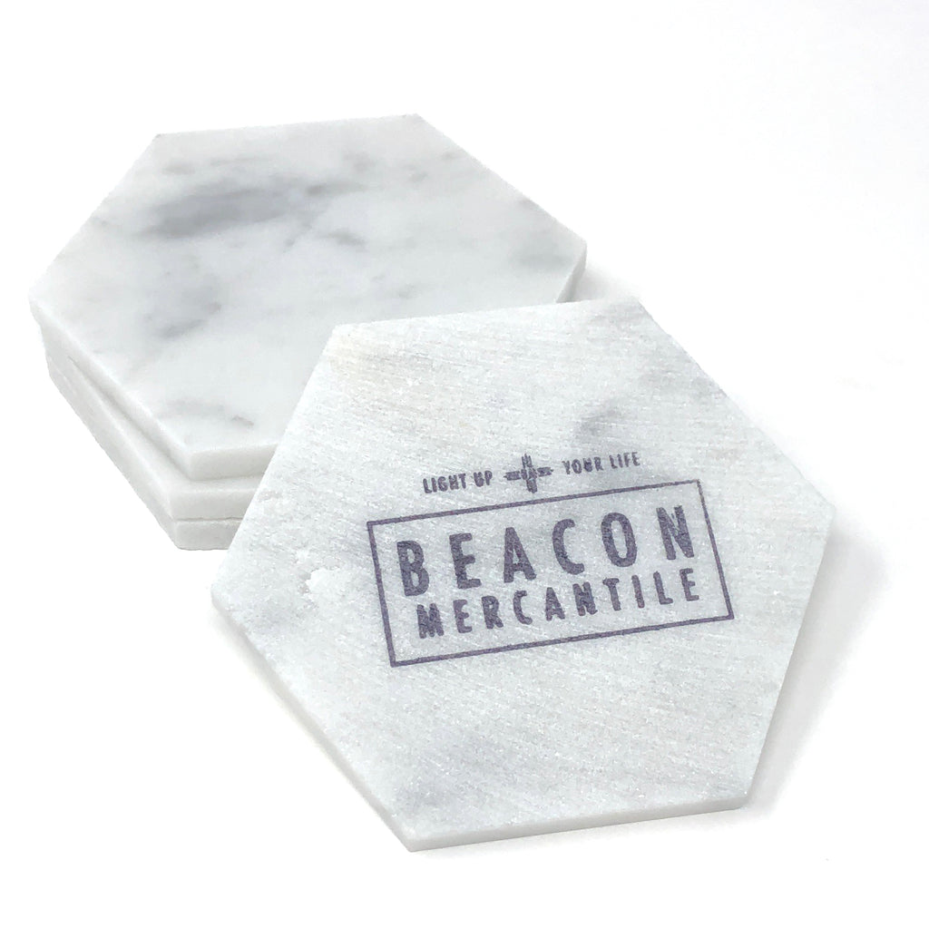 Marble Object- Large Hexagon Candle Rest