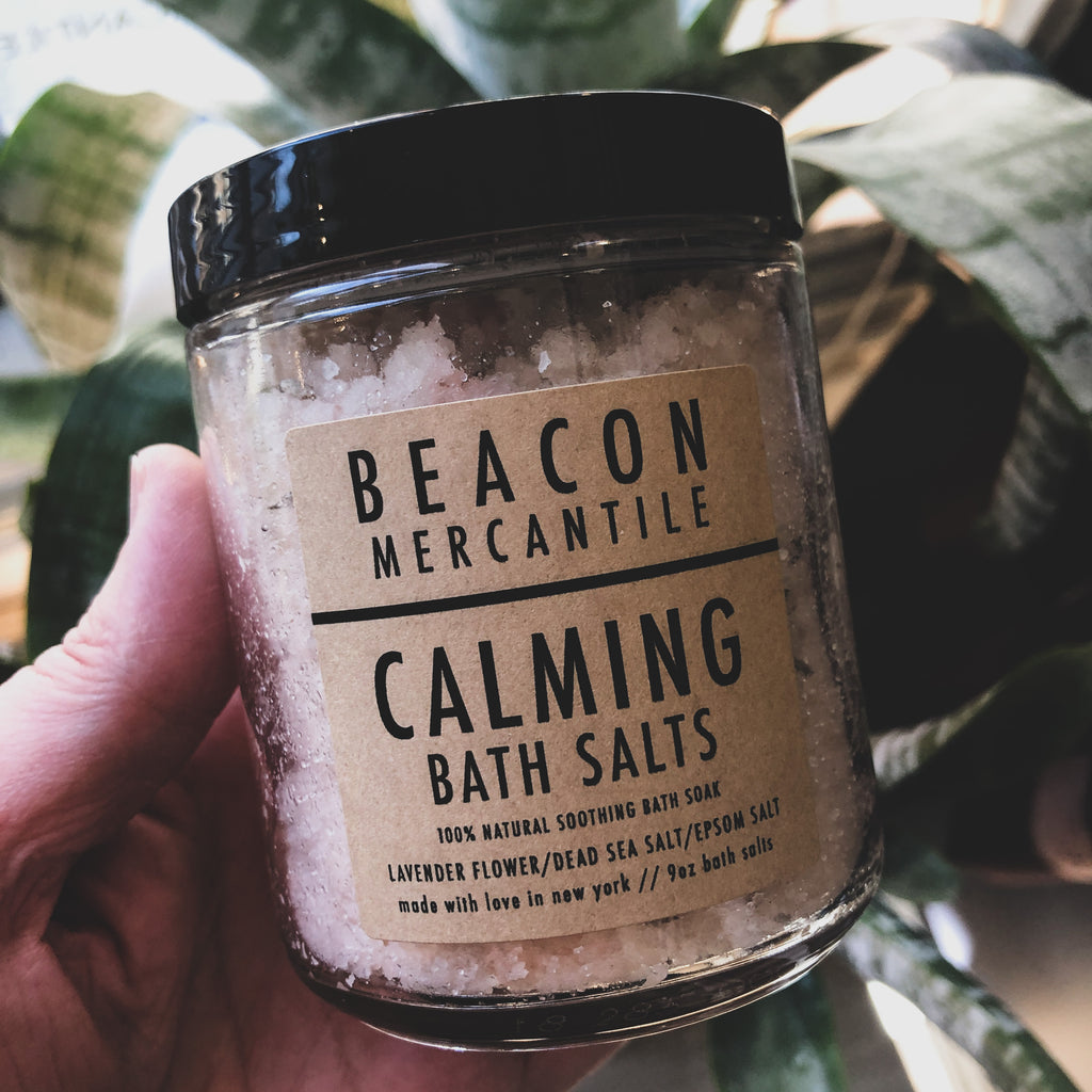 Calming Bath Salts- French Lavender Flowers, Dead Sea & Epsom Salts
