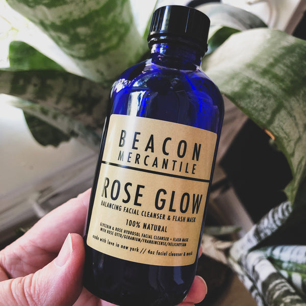 Rose Glow Facial Cleanser & Flash Mask with Rose, Geranium, and Frankincense