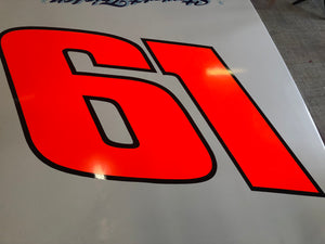 Raffle Entry for #61 C.D. Coville Tribute DKM door and quarter panel driven by Stewart Friesen