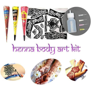 WoLf FuSiOn A - 3 Black 3 Brown / . Henna Body Art Kit