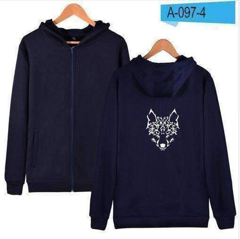WoLf FuSiOn Hoodies & Sweatshirts Navy blue / S WOLF™ PRINTED COOL ZIPPER HOODIES (MEN/WOMEN)