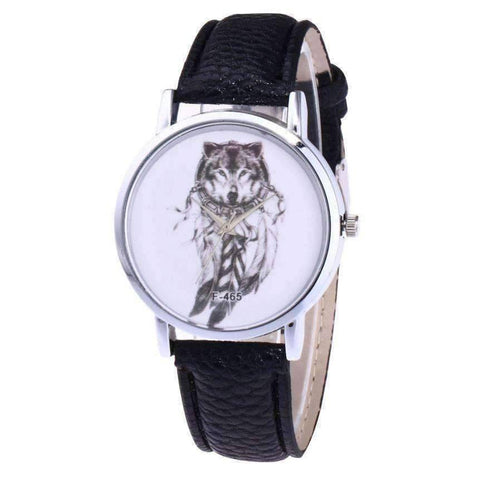 WoLf FuSiOn Lover's Watches Black Wolves™ Unisex Leather Watch