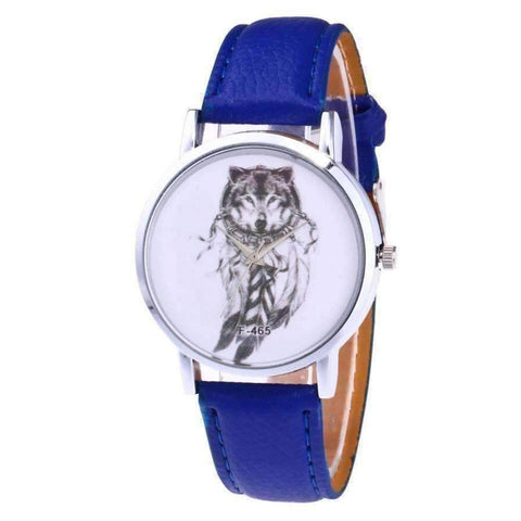 WoLf FuSiOn Lover's Watches Blue Wolves™ Unisex Leather Watch