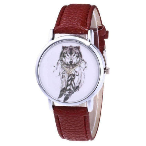 Image of WoLf FuSiOn Lover's Watches Brown Wolves™ Unisex Leather Watch