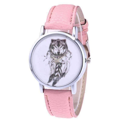 Image of WoLf FuSiOn Lover's Watches Pink Wolves™ Unisex Leather Watch