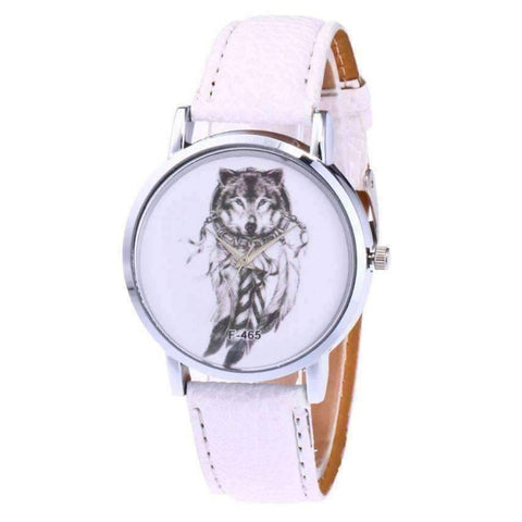 WoLf FuSiOn Lover's Watches White Wolves™ Unisex Leather Watch
