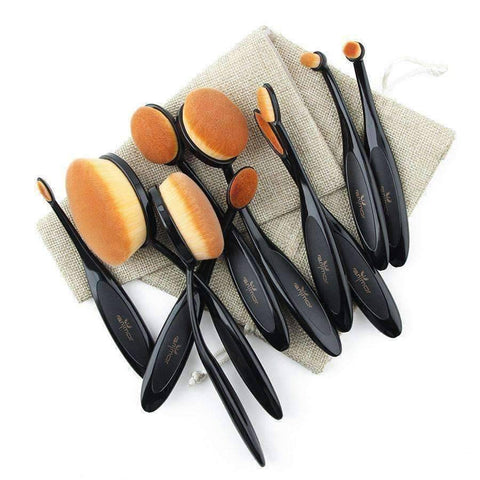 WoLf FuSiOn Makeup Scissors Black / China Professional ™ Oval Makeup Brushes Kit Set