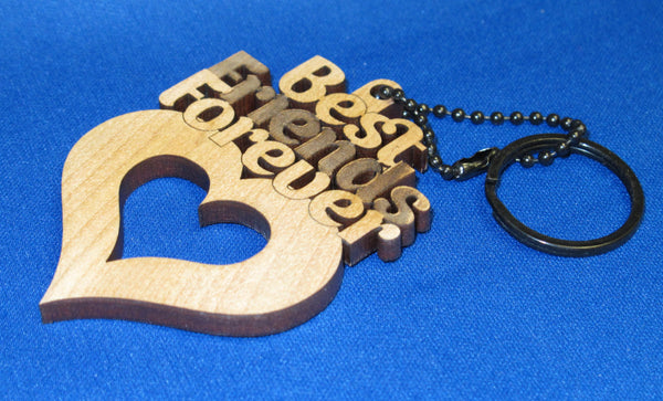 Best Friends Forever - Personalized key chain engraved and laser cut birch wood (Unfinished) - Infinity Parkour
