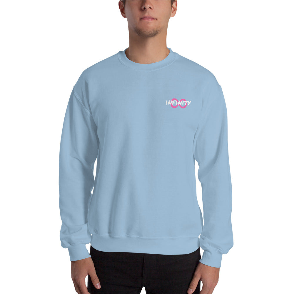 Baby Blue Crewneck Pullover with Pink Logo - Infinity Parkour