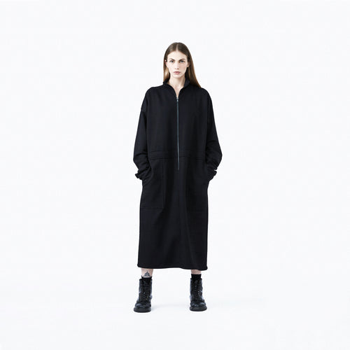 Full zip sweater dress black oversize