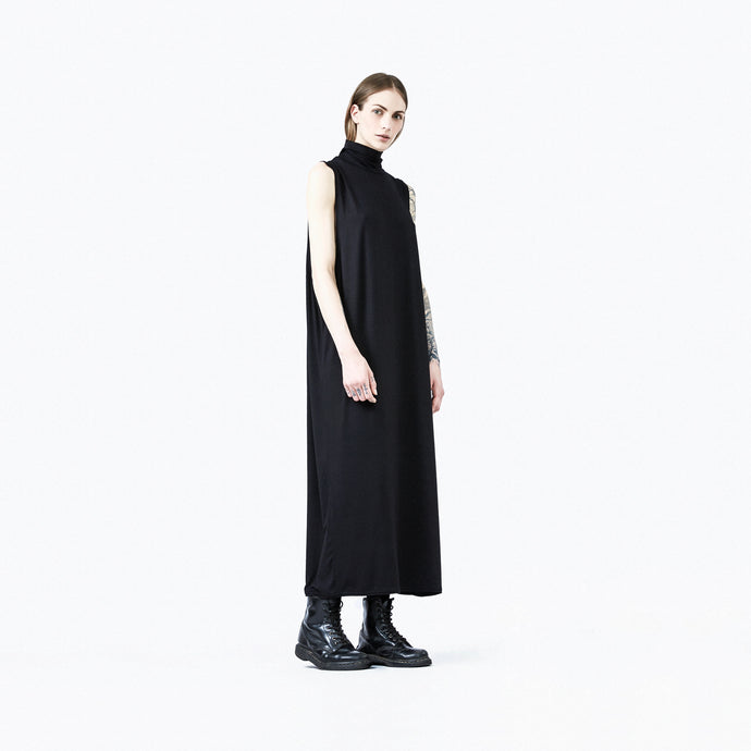 Turtleneck dress black unisex woman