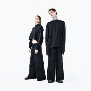 Wide leg pants black unisex