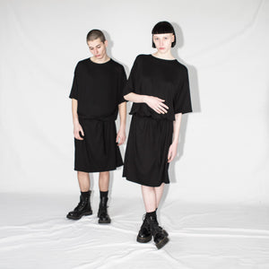 Black shortsleeves dress oversize unisex