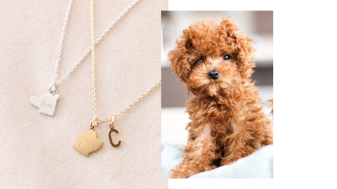 Custom Pet Silhouette Necklace, Gold