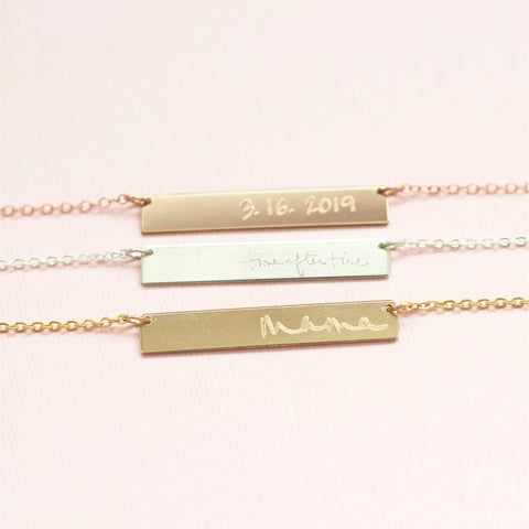 Custom Hand-Stamped Bar Necklace