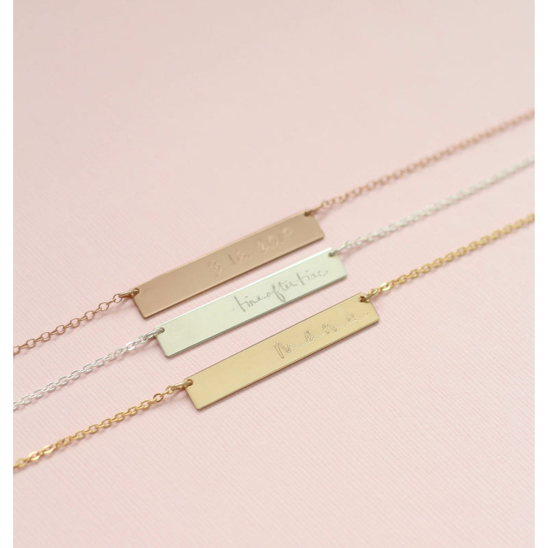 Gold, silver and rose gold handmade custom handwriting bar necklaces