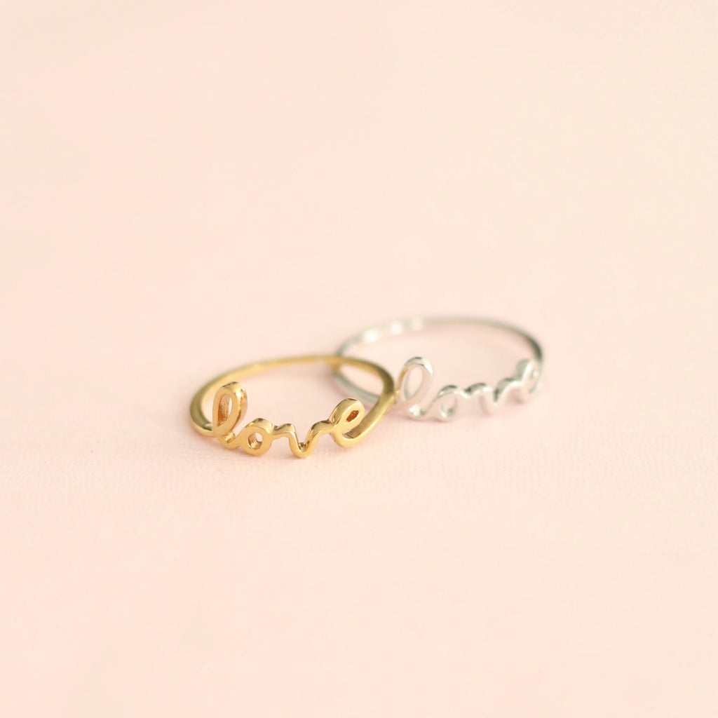 sterling silver and gold love letter rings