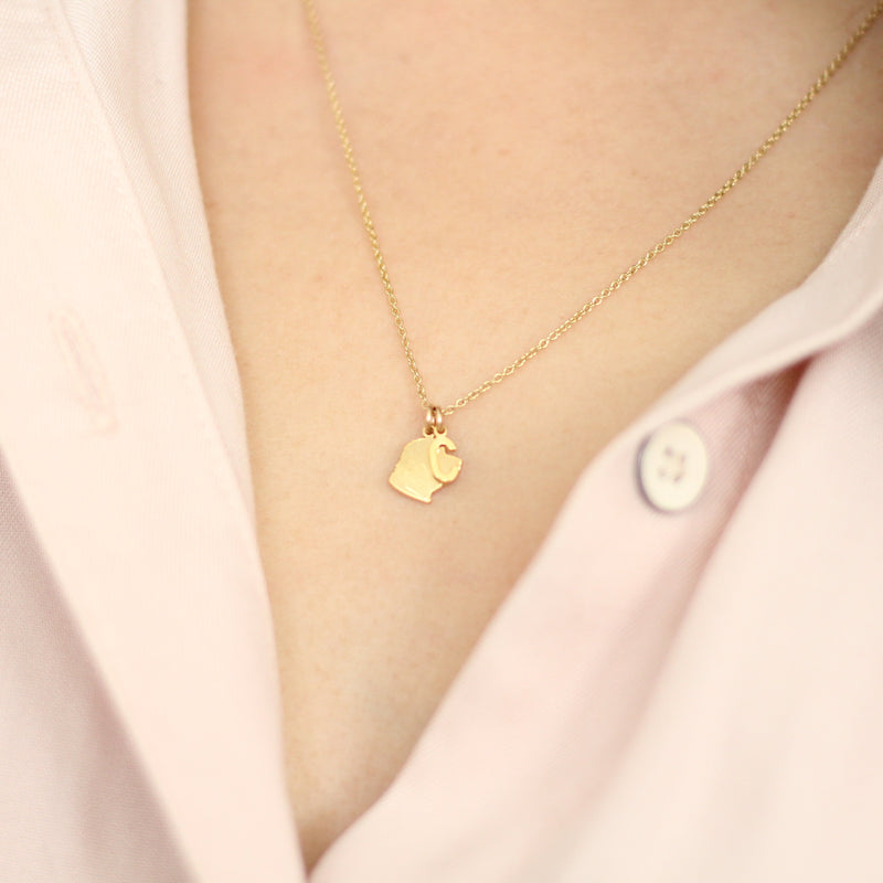 Woman wear a gold pet silhouette necklace with a letter C initial charm added on