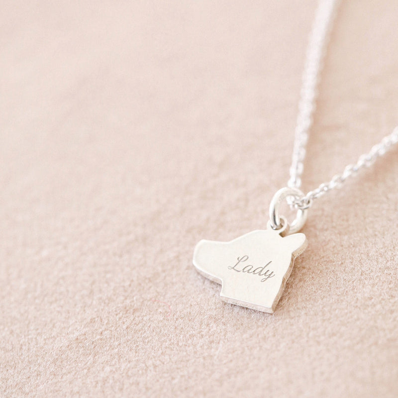 Silver Pet Side Silhouette Necklace