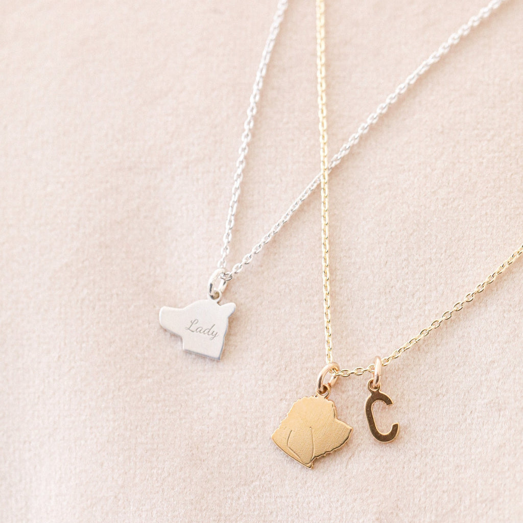 pet silhouette necklace in gold and silver