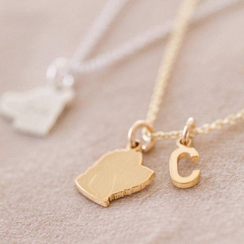 Side profile of your pet handmade into a pet silhouette pendant. The letter C inital charm is added for the first letter of the pets name