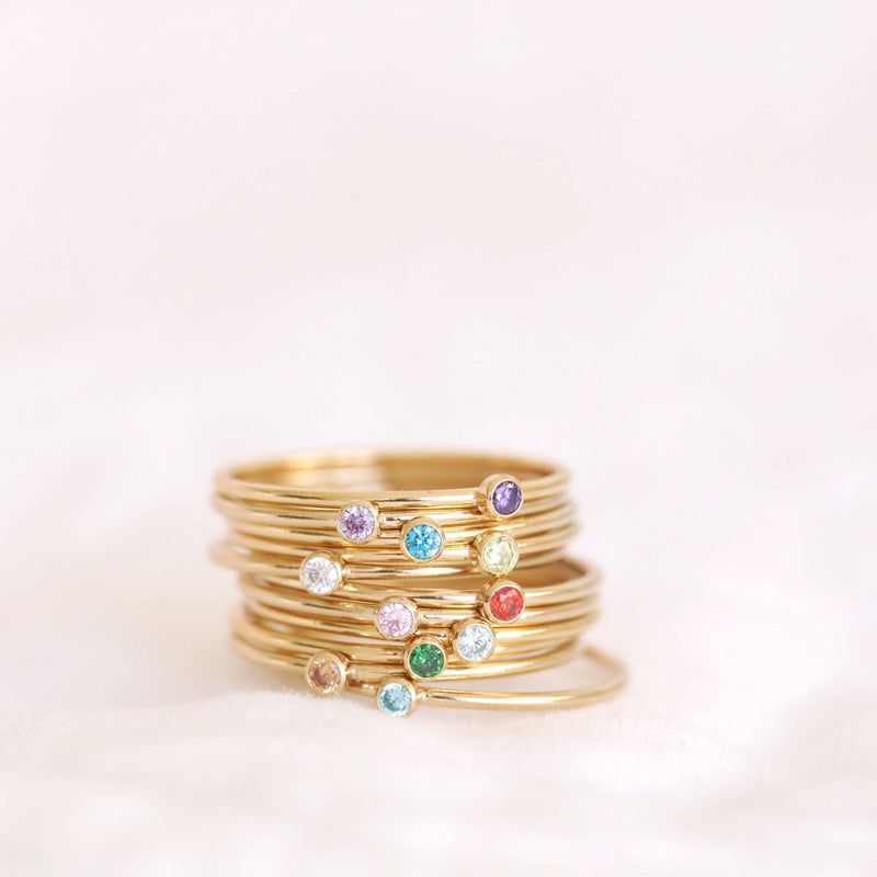Handmade birthstone rings made with sterling silver and gold filled, sustainably made birthstone rings made in Canada