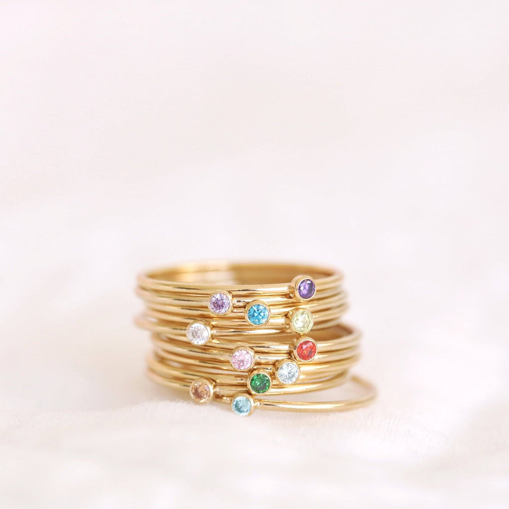 Handmade birthstone rings made with sterling silver and gold filled. Handmade birthstone rings sustainably made in Canada.