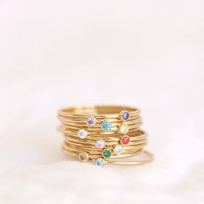 Handmade birthstone rings made with sterling silver and gold filled, handmade birthstone rings sustainably made in Canada.