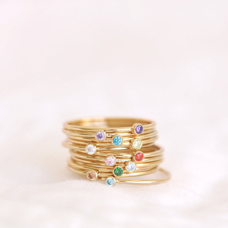 Handmade birthstone rings made with sterling silver and gold filled. Handmade birthstone rings sustainably made in Canada