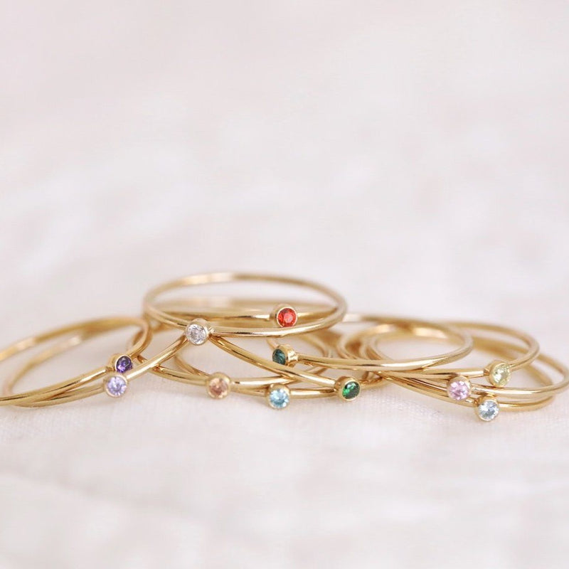 Sterling silver and gold filled birthstone rings made in Canada ethically and sustainably made birthstone rings