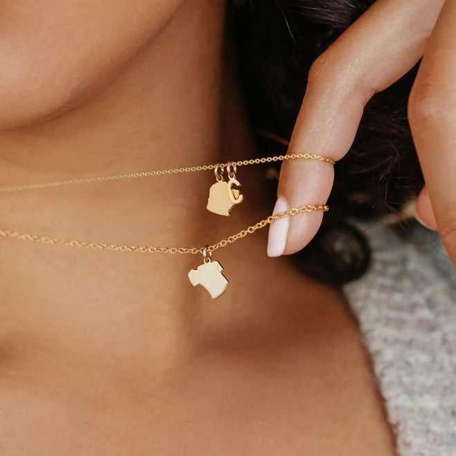 Fur Baby Silhouette Necklace - Solid Gold