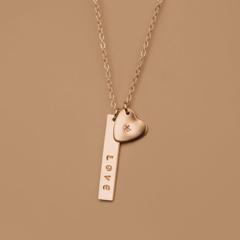 vertical bar and heart pendant hand stamped