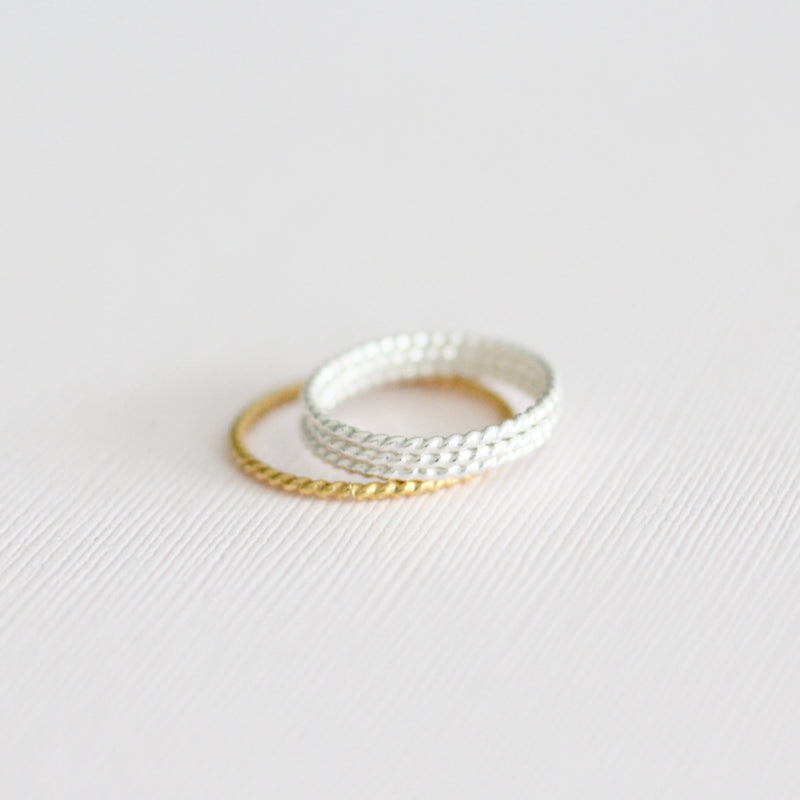 gold and sterling silver twisted stackable rings