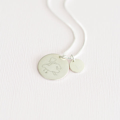 Custom Handwriting Coin Necklace