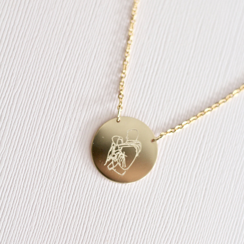 Gold handmade custom drawing necklace
