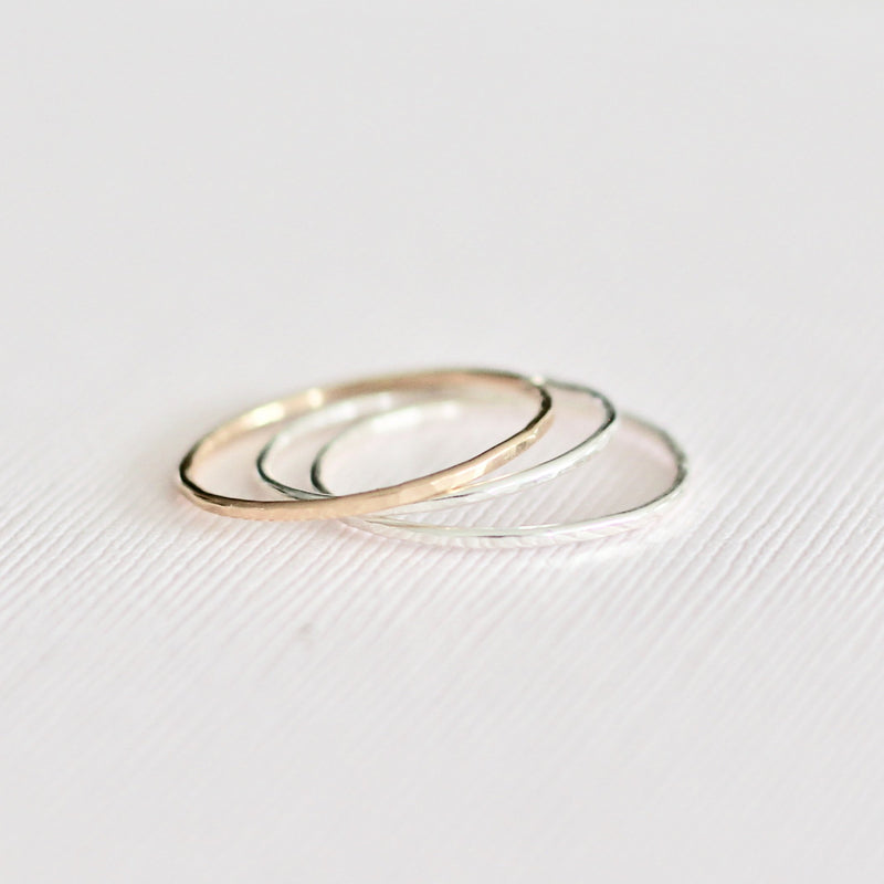 sterling silver gold filled minimal hammered simple ring