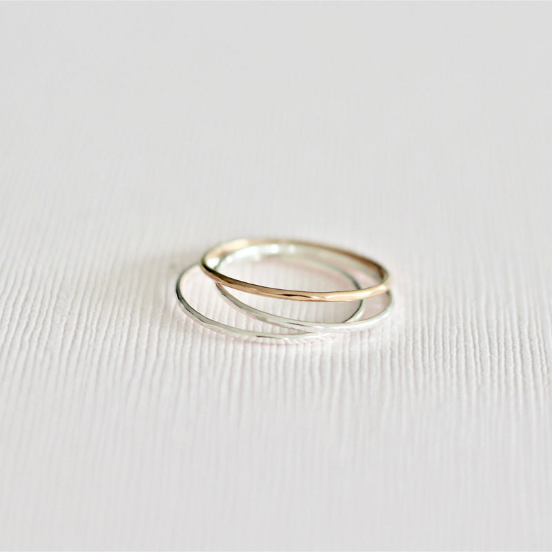 stackable minimal rings made with sterling silver and gold filled in Canada