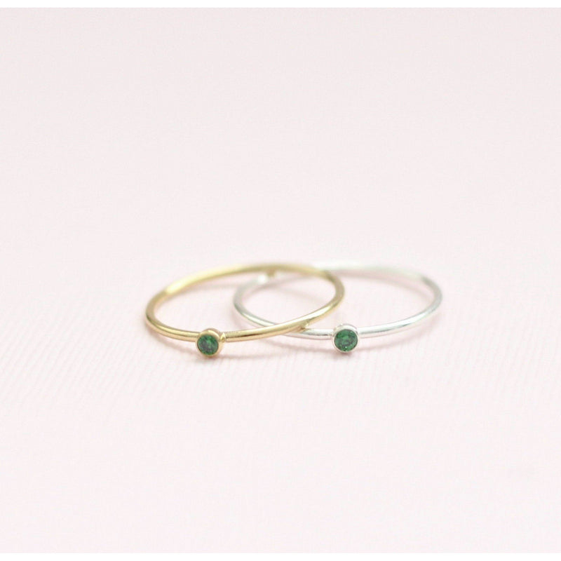 Handmade May Emerald birthstone rings made with sterling silver and gold filled. Handmade May birthstone ring sustainably made in Canada.