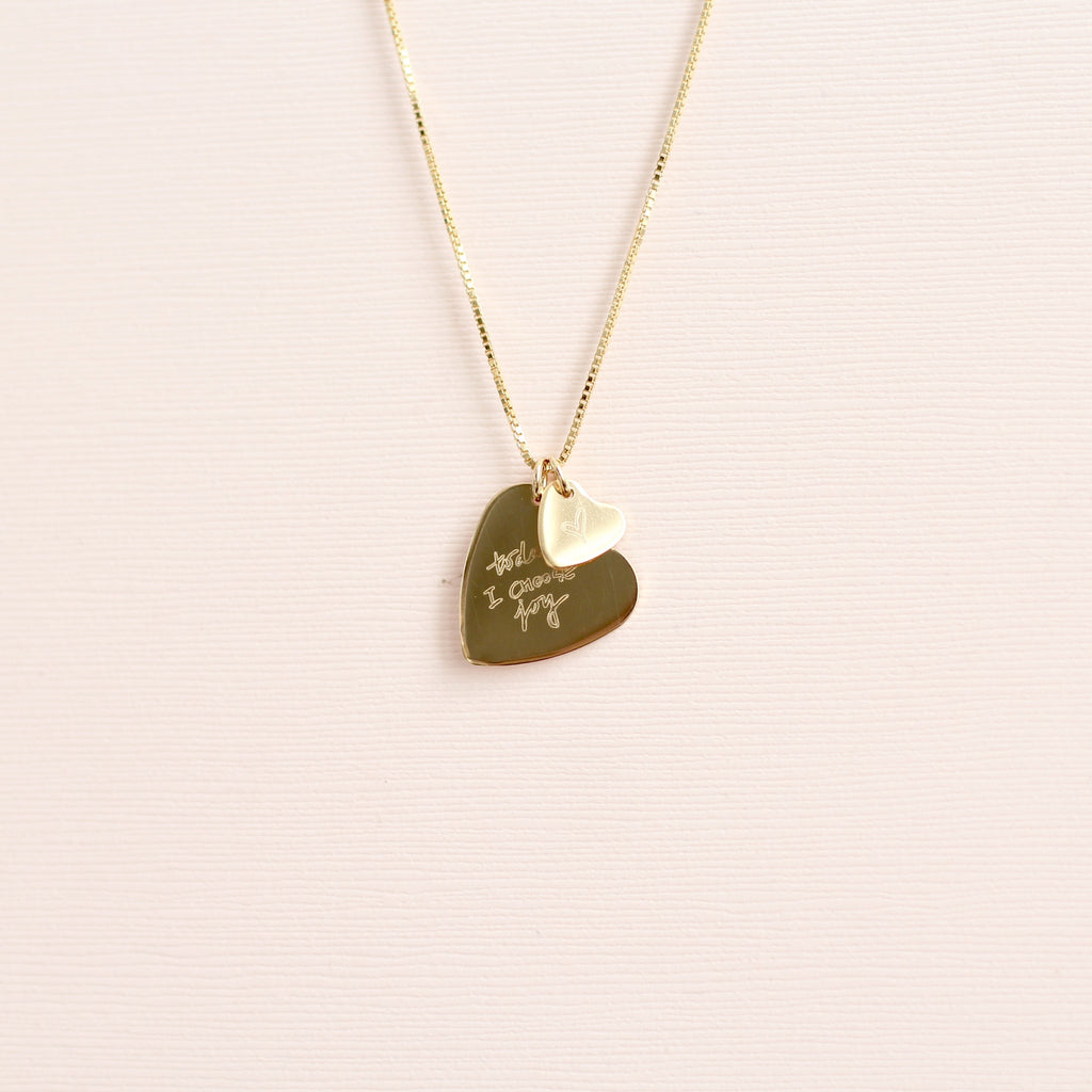 Custom handwriting double heart necklace in gold