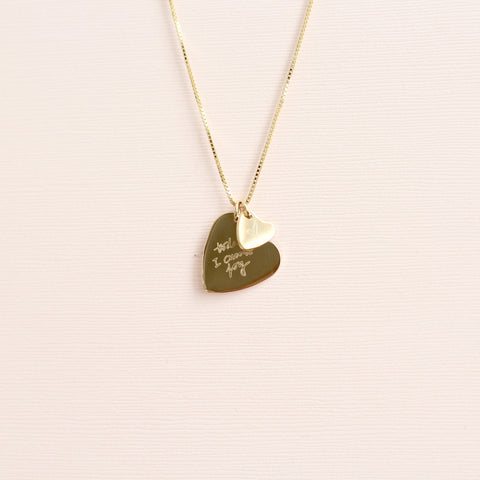 Custom Drawing Double Heart Necklace