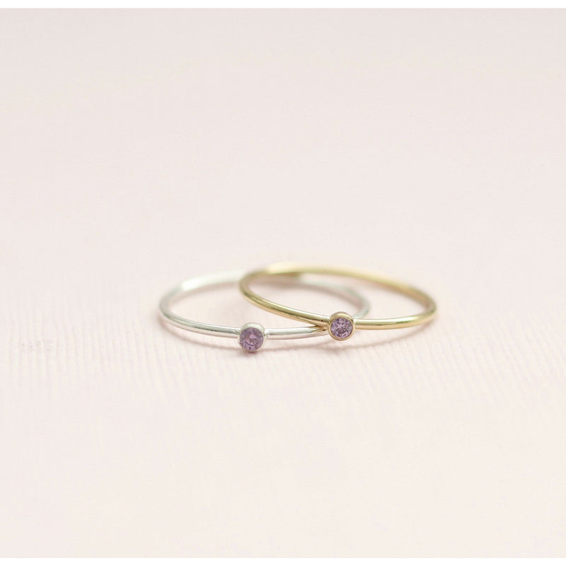 Handmade June Alexandrite birthstone rings made with sterling silver and gold filled. Handmade June birthstone ring sustainably made in Canada