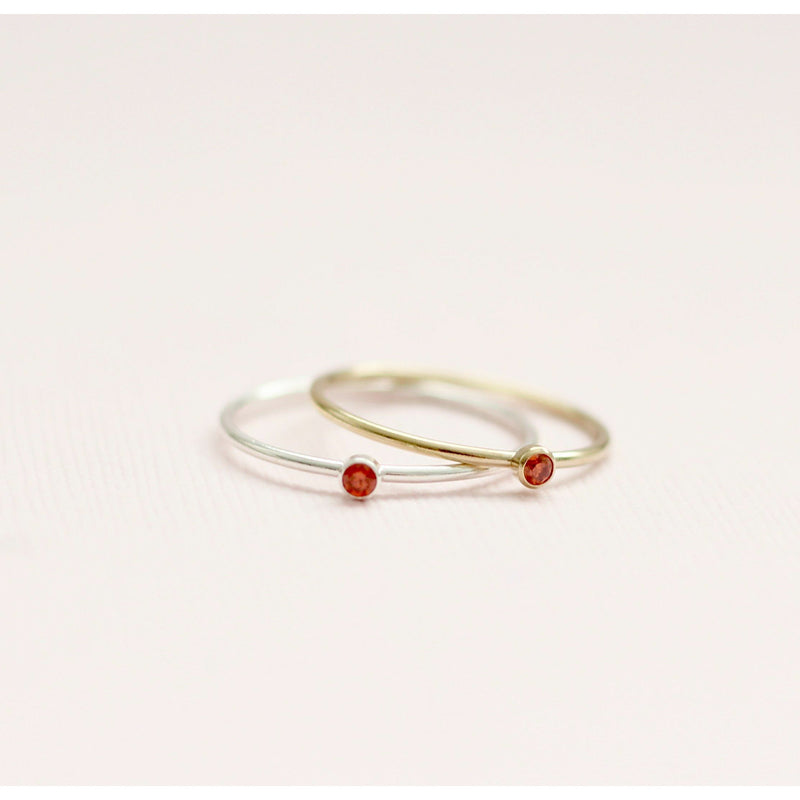 Handmade July ruby birthstone rings made with sterling silver and gold filled. Sustainably made in Canada