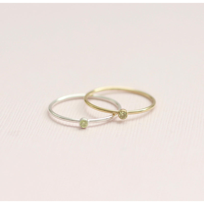 August birthstone rings made with sterling silver and gold filled, August birthstone peridot made in Canada