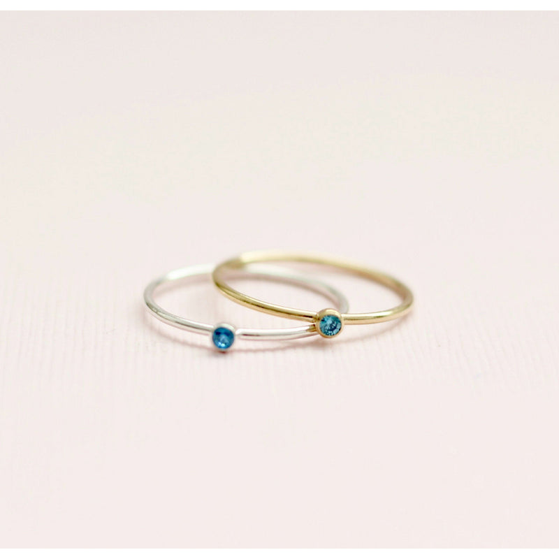 Handmade September Sapphire birthstone ring made with sterling silver and gold filled. Handmade September birthstone ring sustainably made in Canada