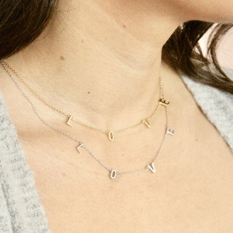 necklaces that say love in sterling silver and gold handmade in Canada
