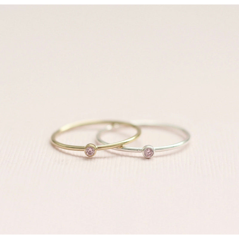 Handmade October Tourmaline birthstone ring made with sterling silver and gold filled. Handmade October birthstone ring sustainably made in Canada