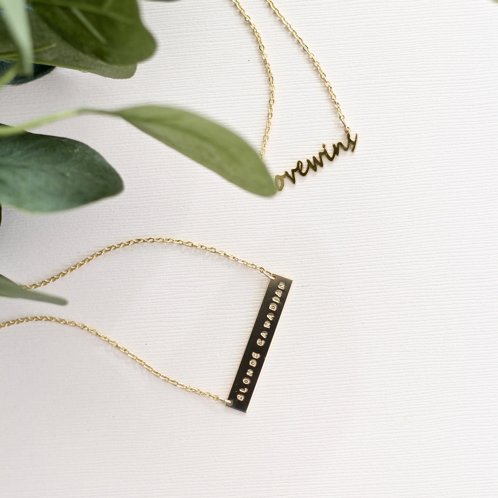Handmade custom gold hand stamped necklace with personalized message and handmade custom personalized handwriting necklace in gold